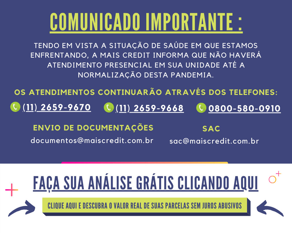 Comunicado importante - Mais Credit